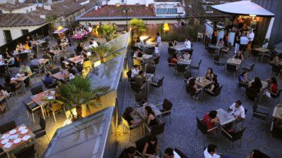 Madrid 8 de Agosto 2008.Terraza  Gaudeamus Café . © Dani Pozo